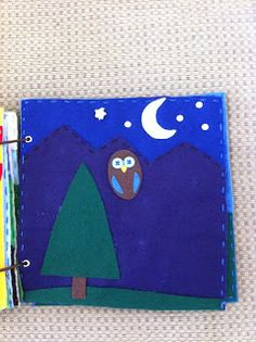 Nightime owl and mountains quiet book page. I love this one! Very original.