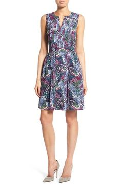 Halogen® Pleated Fit & Flare Dress (Regular & Petite) at Nordstrom.com. A series of crisp pleats flank the center front and back of a sleeveless dress tailored in a classically feminine silhouette and topped with a split neckline.