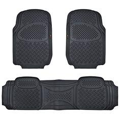 MotorTrend 100% Odorless Ridged Heavy Duty Rubber Floor Mats (Black) - Semi Custom Fit #carscampus