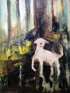 Hey What Was That....original painting of cute doggie in the woods.http://watchingthepaintdry.typepad.com