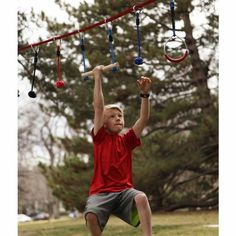 Be a ninja! This NinjaLine Intro kit incorporates elements from a popular television series and provides a unique challenge for its participants. Hang this 30' NinjaLine between two trees to create a fun and challenging ninja training obstacle course. Helps develop core, grip, and upper body strength as children move down the line from obstacle to obstacle. Includes 7 hanging obstacles.