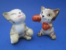 Vintage Boxing Kittens Cats Salt and Pepper Shakers Anthropomorphic