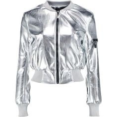 Alisha Metallic Leather Look MA1 Bomber (£25) ❤ liked on Polyvore featuring outerwear