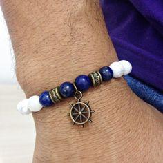 Puseira Masculina Biojoia Pedras Howlita Lapis Lazuli Leme mens bracelets fashion style cocar brasil