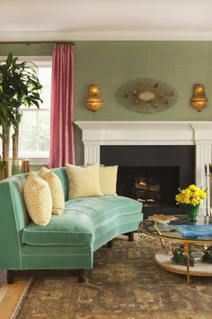 transitional living room by Hillary Thomas Designs. Love that sofa!