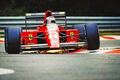 Berger in the beautiful Ferrari 640, negotiating the bus stop, Spa 1989