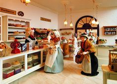 The bakery department in the largest miniature department store in the world. Miniature Furniture, Dollhouse Furniture, Dollhouse Interiors, Miniature Houses, Miniature Dolls, Doll Museum, Mini Doll House, Minis, Barbie Furniture