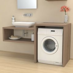Veca srl produces and sells online Column cover with doors for washing machine - Bathroom furniture - Laundry, made of wood, to cover household appliances Laundry Room Bathroom, Laundry Room Design, Bathroom Design Small, Bathroom Layout, Bathroom Interior Design, Bathroom Storage, Ikea Lillangen, Casa Mix, Washing Machine Cover