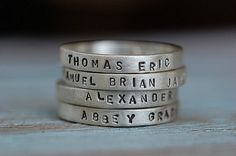 love this idea for a family ring alternative... added bonus, never forget your kids birthdays- engraved right on your fingers.