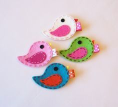 Felt Bird Hair Clip - You Pick 1 - Apple Green, White, Grey, Yellow, Pink…