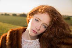 Girl, Red Hair, Blue Eyes, Sunrise