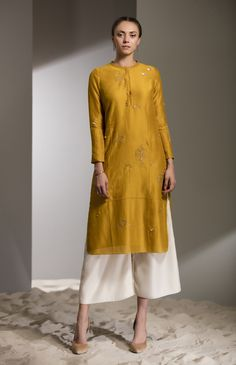 Fabric Material: Chanderi Bottom: Palazzo Material Composition: 100% Silk Care: Dry Clean Only