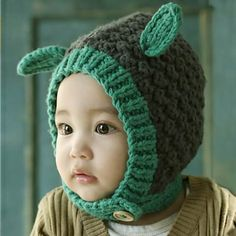 Lovely rabbit ear hat for baby 0 to 3 years old knitted hat. Crochet Winter  HatsCrochet ... aa163aa26e80