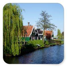 Zaanse Schans Dutch timber houses Square Sticker