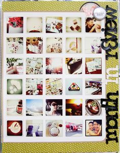 """Love this idea for """"Month in Review"""" - use so many photos and document an entire month in a two page spread!"""