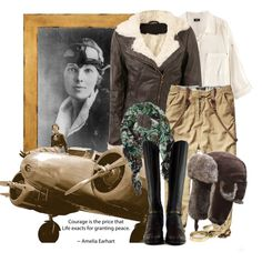DIY Halloween Costume - Amelia Earhart by pezywvu on Polyvore.  You'd have to invest in a great leather jacket & hat...