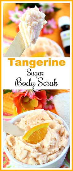 Tangerine Sugar Body Scrub- Love citrus? Why not use this delightfully citrus scented Tangerine Sugar Body Scrub! It leaves your skin wonderfully moisturized! | homemade beauty products, bright, orange, summer, refreshing, homemade, DIY, all-natural, DIY gift idea