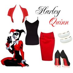 Modern Harley Quinn by wonderland449 on Polyvore featuring polyvore, fashion, style, Fever, Christian Louboutin, Wet Seal, modern and clothing