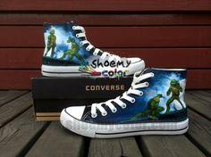 TMNT Teenage Mutant Ninja Turtles High Top Blue Converse Canvas Shoes for Women Men