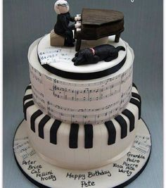 A Piano Cake 🎂 For My Theme Of Music 🎶 Music Themed Cakes, Music Cakes, Beautiful Cakes, Amazing Cakes, Bolo Musical, Piano Cakes, Birthday Cake Decorating, Cake Birthday, Happy Birthday