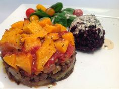 Eggplant lentils and butternut squash heaven served along with black rice | From Estee's Kitchen