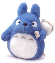 "10"" tall blue Totoro plush doll"