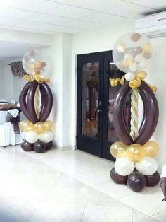 Ideia colunas com balões chocolate www.partyland.pt