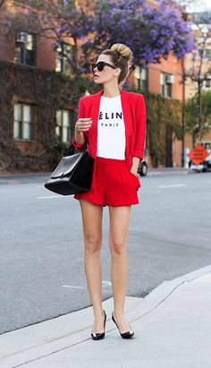 red suit with casual tee