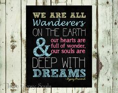 Gypsy Wall Art Gypsy Proverb Gypsy Wall Decor Printable We Are All Wanderers on the Earth