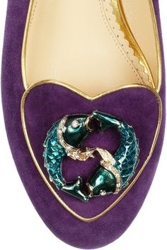 Charlotte Olympia|Pisces suede slippers|NET-A-PORTER.COM