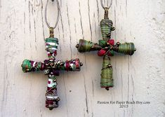 This tutorial will show you step by step how to make the paper bead crosses as pictures.  These crosses were made using Christmas Gift Boxes but, you can also use thick paper.  This listing is a mini tutorial and includes everything you need to create your own beautiful Cross Ornaments, all in instant download format.   Easy to use instructions on how to create the cross (6 pages) in PDF format  Your beads will vary depending on the thickness of paper you chose to use. The Cross in picture…