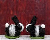 Wee Dutch Bunny- Black and White Needle Felted Rabbit
