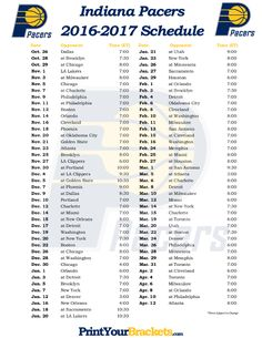 Printable Indiana Pacers Basketball Schedule 2016-2017