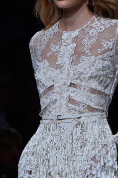 Embellishment Details #embellishment #details #EveningDress #beading #beadedfabric #texture #colours #white #lace #style #RTW | Elie Saab at Paris Spring 2015