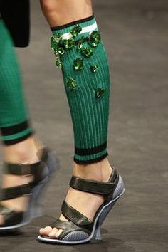 Would you wear bedazzled leg warmers? Prada, spring/summer 2014