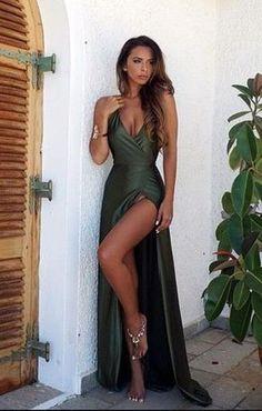 Sexy V Neck Prom Dress,Backless Cheap Prom Dress,Split