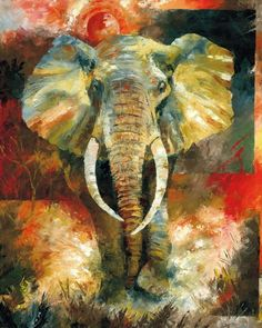 african elephant paintings | Wildlife African Elephant Art & Painting.