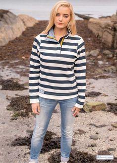 Women's Nautical Striped Sweatshirt, White/Navy Blue - http://www.thenauticalcompany.com/womens-nautical-sweatshirt/prod_308.html THE NAUTICAL COMPANY #nautical #fashion