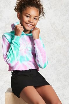 """Forever 21 Girls - A French terry knit hoodie featuring an allover tie-dye wash, a """"Whatever Forever"""" graphic on the front, an attached hood, long raglan sleeves with banded cuffs and ribbed knit trim, a fleece lining, raw-cut hem, and subtle cropped silhouette."""