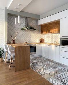 Kitchen Room Design, Modern Kitchen Design, Home Decor Kitchen, Kitchen Interior, Kitchen Ideas, Beautiful Kitchen Designs, Beautiful Kitchens, Cool Kitchens, Küchen Design
