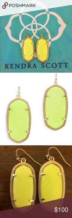 "KENDRA SCOTT | Neon Yellow ""Elle"" Earrings; Rare! Kendra Scott's ""Elle"" Earring in the rare Neon Yellow color! Excellent used condition. No tarnishes or cracks. Comes with Kendra Scott dust bag. *Please take note of Kendra Scott's disclosure that natural dyed stones may vary in color, veining, markings, etc).* First two photos are photos of my actual earrings while the last one is a stock photo. Kendra Scott Jewelry Earrings"