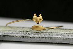 Armreif Armband Fuchs, vergoldet, größenverstellbar // bracelet fox gold via DaWanda.com