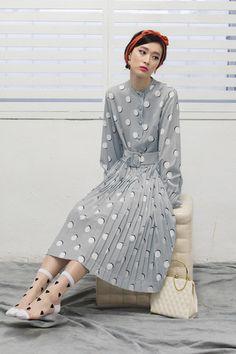 Polka Dot Pleat Skirt Dress Grey - THE WHITEPEPPER