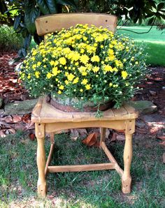 If you found a broken chair in the garbage would you let it go or take it home. See how easy it is to transform an old chair into a new planter.