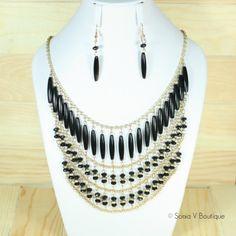 Black Tribal Necklace Set
