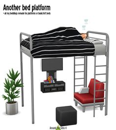 Custom content for the Sims 3 and Sims 4 Mod Furniture, Sims 4 Cc Furniture, Ikea, 4 Bunk Beds, Loft Beds, Mods Sims 4, Sims 4 Loft, Maxis, Sims 4 Kitchen