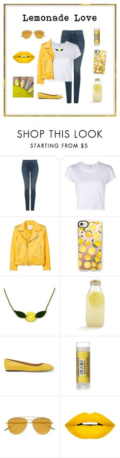 """Lemonade Lover"" by bluejasmine360 ❤ liked on Polyvore featuring NYDJ, RE/DONE, MANGO, Casetify, Bormioli Rocco, Tory Burch, Tomas Maier, Forever 21 and lemonade"