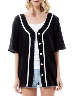 LE3NO Womens Oversized Button Down Short Sleeve Baseball Shirt