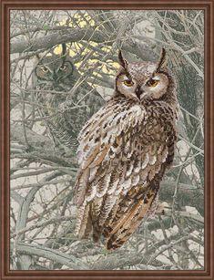 Набор для вышивания крестом на канве с нанесенным рисунком 0038 РТ Филин от РИОЛИС  Cross stitch kit with pre-printed background 0038PT Eagle Owl by RIOLIS