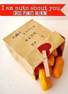 I am Nuts About You (Circus Peanuts Valentine idea) #DIY #Valentine